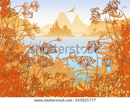 Illustration of the castle and the lake in the mountains - stock vector