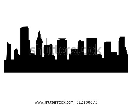 Illustration of the city skyline silhouette - Miami - stock vector