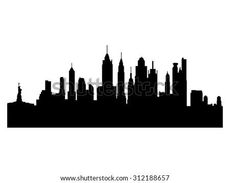 Illustration of the city skyline silhouette - New York - stock vector