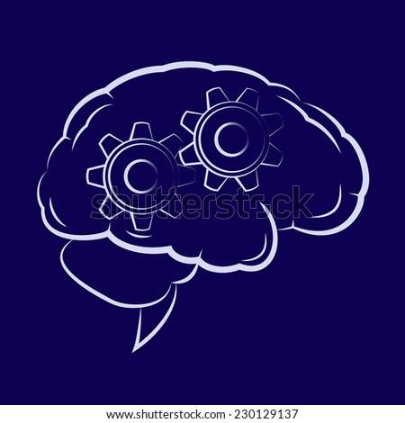 Illustration of the cogwheels inside human brain - stock vector