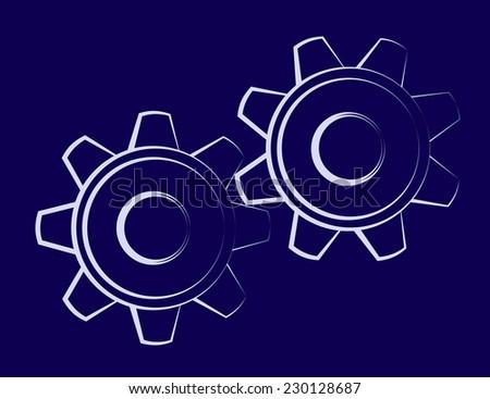 Illustration of the cogwheels on dark blue background - stock vector