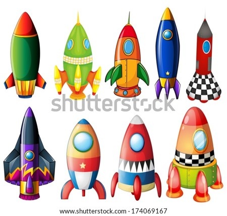 Illustration of the colorful rockets on a white background - stock vector