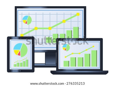Illustration of the computer business financial graph on monitor, laptop and tablet - stock vector