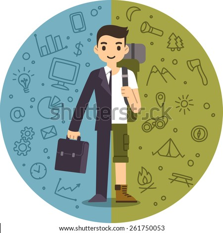 Illustration of the concept of life and work balance. Young businessman in suit on the left and with hiking equipment on the right. Background is separated into two thematic parts. - stock vector