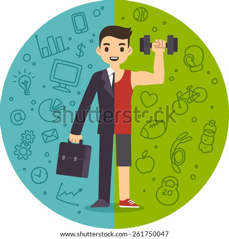 Illustration of the concept of life and work balance. Young businessman in suit on the left and in fitness gear with a dumbbell on the right. Background is separated into two thematic parts. - stock vector