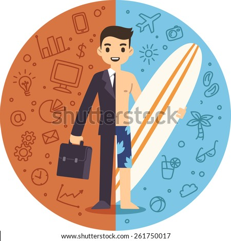 Illustration of the concept of life and work balance. Young businessman in suit on the left and on the beach with a surfboard on the right. Background is separated into two thematic parts. - stock vector