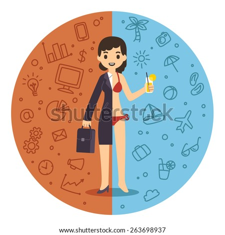 Illustration of the concept of life and work balance. Young businesswoman in suit on the left and in bikini on the beach on the right. Background is divided in two thematic patterned parts. - stock vector