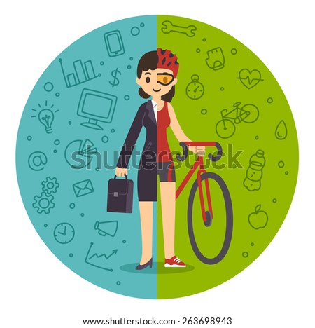 Illustration of the concept of life and work balance. Young businesswoman in suit on the left and in fitness gear with a bicycle on the right. Background is divided in two thematic patterned parts. - stock vector
