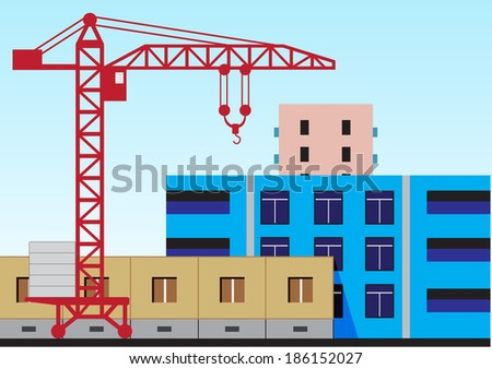 Illustration of the construction of residential houses and high-rise crane - stock vector