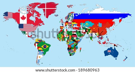 Illustration of the countries national flags on the world map - stock vector