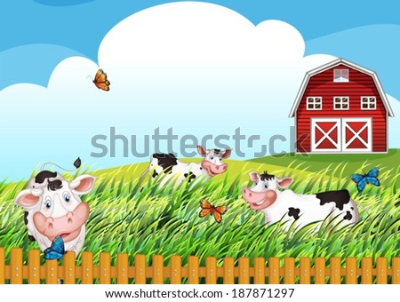 Illustration of the cows at the farm - stock vector