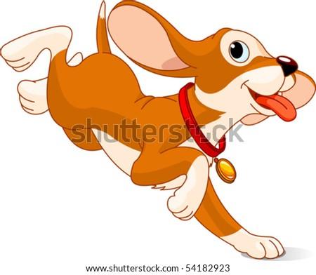 Illustration of the cute fun puppy running - stock vector