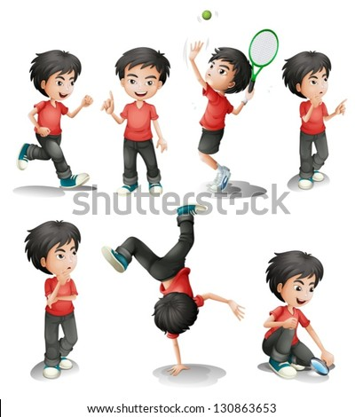 Illustration of the different activities of a young boy on a white background - stock vector