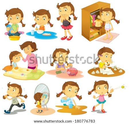 Illustration of the different activities of a young girl on a white background - stock vector