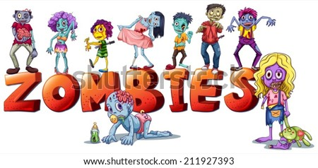 Illustration of the different faces of zombies on a white background - stock vector