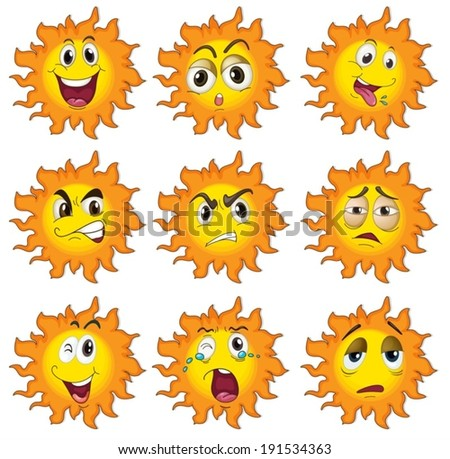 Illustration of the different facial expressions of the sun on a white background - stock vector
