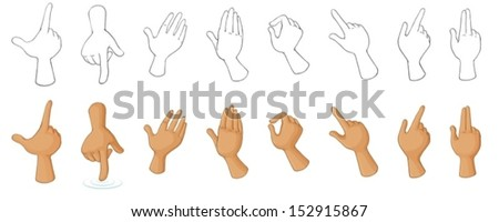 Illustration of the different hand gestures on a white background - stock vector