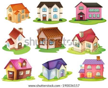 Illustration of the different houses on a white background - stock vector