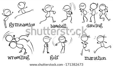 Illustration of the different indoor and outdoor activities on a white background - stock vector