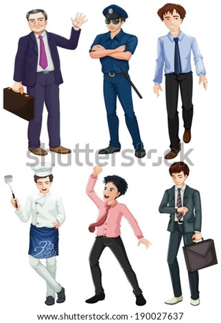 Illustration of the different professions of men on a white background - stock vector