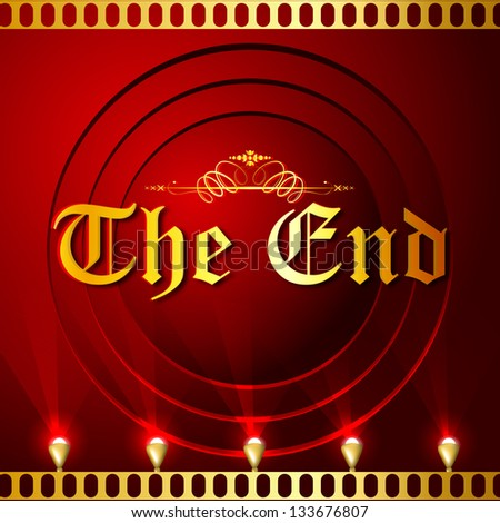 illustration of The End screen with film strip background - stock vector