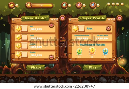 Illustration of the fairy forest at night with flashlights and examples of screens, buttons, bars progression for computer games and web design. Set 1. - stock vector