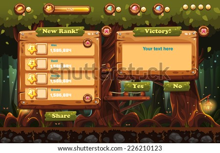 Illustration of the fairy forest at night with flashlights and examples of screens, buttons, bars progression for computer games and web design. Set 3. - stock vector