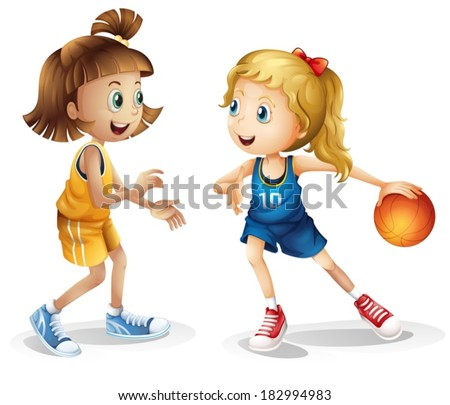 Illustration of the female basketball players on a white background - stock vector