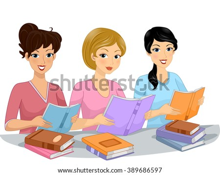 Illustration of the Female Members of a Book Club Reading Books Together - stock vector