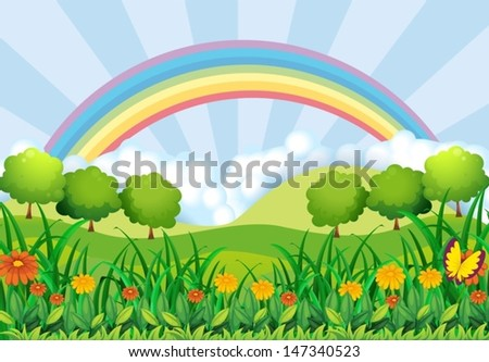 Illustration of the field and the rainbow - stock vector