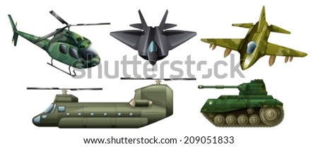 Illustration of the fighting vehicles on a white background - stock vector