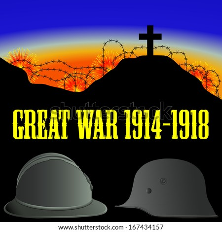 illustration of the First World War (the Great War) - stock vector