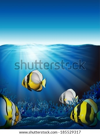 Illustration of the fishes under the sea - stock vector