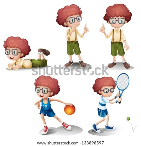Illustration of the five different activities of a young boy on a white background - stock vector