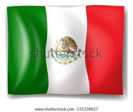 Illustration of the flag of Mexico on a white background - stock vector