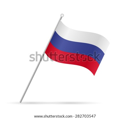 Illustration of the flag of Russia isolated on a white background. - stock vector