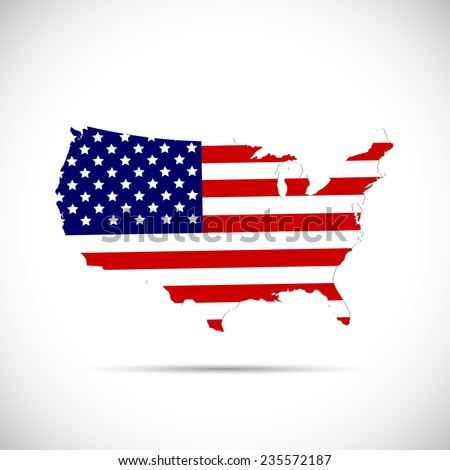 Illustration of the flag of the United States of America on a map isolated on a white background. - stock vector