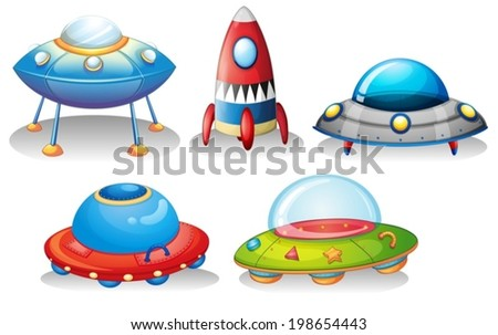 Illustration of the flying saucers and a rocket on a white background - stock vector