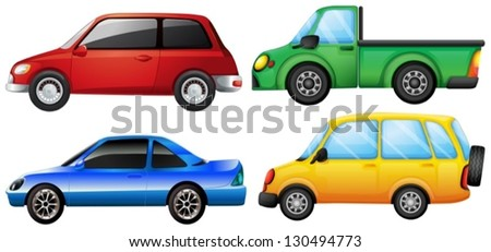 Illustration of the four different vehicles on a white background - stock vector
