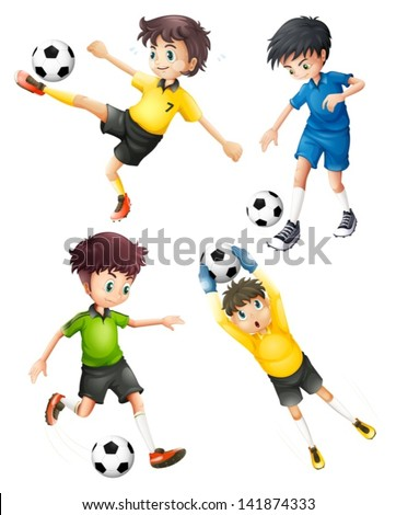 Illustration of the four football players on a white background - stock vector