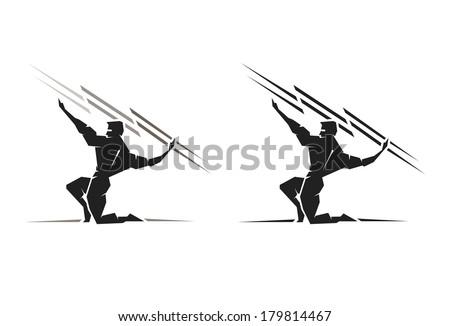 Illustration of the Greek God Zeus throwing a bolt of lightning - stock vector
