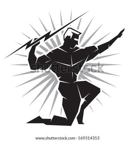 Illustration of the Greek God Zeus throwing a bolt of lightning viewed from the front - stock vector