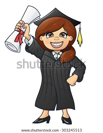Illustration of the happy graduation student holding her diploma - stock vector