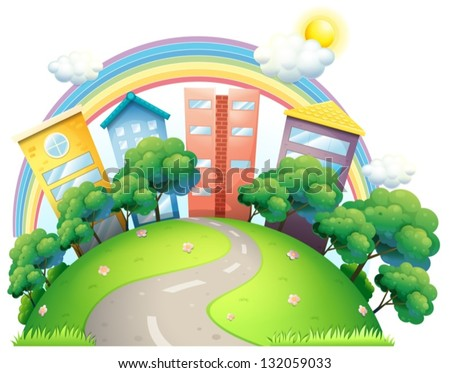 Illustration of the high buildings and the rainbow on a white background - stock vector