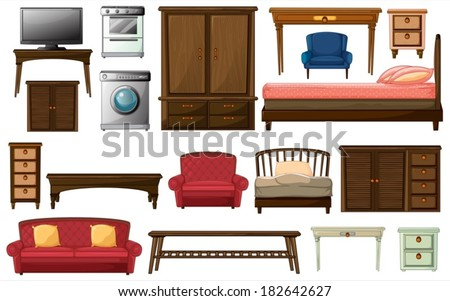 Illustration of the house furnitures and appliances on a white background - stock vector