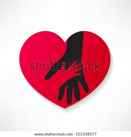 illustration of the human heart rescuing people. - stock vector