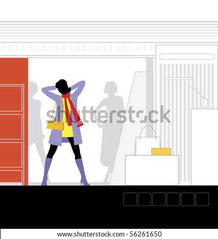 Illustration of the interior of the store. In the foreground is a woman. - stock vector