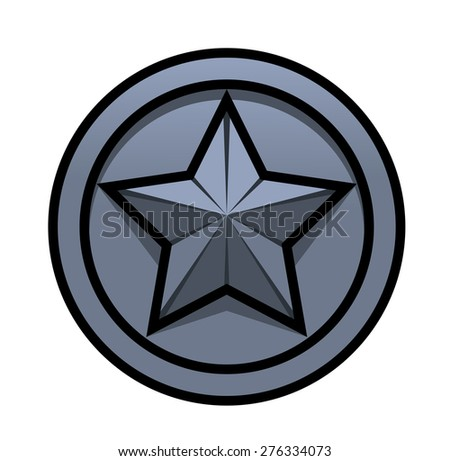 Illustration of the iron star symbol on white background - stock vector