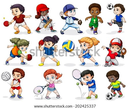 Illustration of the kids engaging in different sports activities on a white background - stock vector
