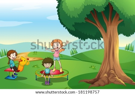 Illustration of the kids playing above the hills - stock vector